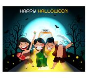Ghosts gather at a party, perfect for decorating a website or a Halloween card. royalty free illustration