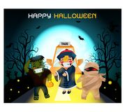 Ghosts gather at a party, perfect for decorating a website or a Halloween card. stock illustration