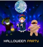 Ghosts gather at a party, perfect for decorating a website or a Halloween card. Spider bat mummy stock illustration