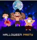 Ghosts gather at a party, perfect for decorating a website or a Halloween card. vector illustration
