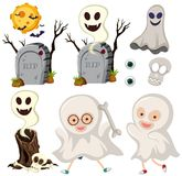 Ghosts and gravestones on white background vector illustration
