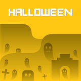 Ghosts and Graveyard Halloween Background Royalty Free Stock Image