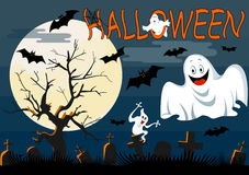 Ghosts with Halloween background Stock Photography