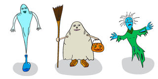 Ghosts of Halloween. Ghosts on Halloween 3 icons on a white background Royalty Free Stock Image