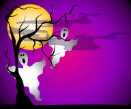 Ghosts Halloween Night Scene. A clip art illustration of a halloween scene featuring the silhouette of an old dead tree, clouds and moon set against a dark Stock Images
