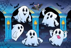 Ghosts in haunted castle theme 2 Royalty Free Stock Image