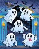 Ghosts in haunted castle theme 1 Stock Photos