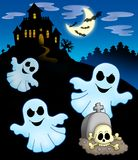Ghosts with haunted house. Color illustration Stock Photo