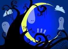 Ghosts having fun at moonlight. Some ghosts having fun at moonlight hanging from tree royalty free illustration