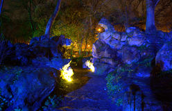 Ghosts like illuminated  rocks in the park Royalty Free Stock Photos