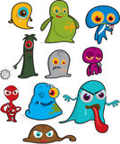 Ghosts, Monsters and Aliens. Scary-looking ghosts, monsters and aliens suitable for a creepy Halloween Stock Photography