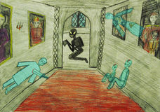 The ghosts of the murder. Of children's artwork Stock Photo