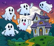 Ghosts near haunted house theme 2 Royalty Free Stock Photo