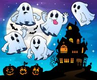 Ghosts near haunted house theme 4. Eps10 vector illustration Royalty Free Stock Photos