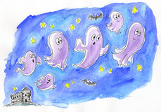 Ghosts in the night sky. A group of funny ghosts is going out from an ancient castle. A watercolor for halloween Stock Image