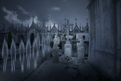 Ghosts from an old cemetery by night Royalty Free Stock Photography