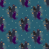Ghosts party seamless pattern 2. Vector illustration of two dancing funny ghosts with small lanterns in hands Stock Image