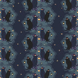 Ghosts party seamless pattern 1. Vector illustration of two dancing funny ghosts with small lanterns in hands stock illustration