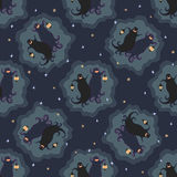 Ghosts party seamless pattern 3. Vector illustration of two dancing funny ghosts with small lanterns in hands royalty free illustration