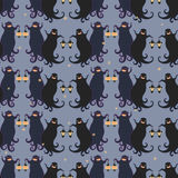 Ghosts party seamless pattern 4. Vector illustration of two dancing funny ghosts with small lanterns in hands stock illustration