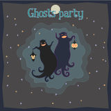 Ghosts party. Vector illustration of two dancing funny ghosts with small lanterns in hands royalty free illustration