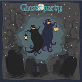 Ghosts party. Vector illustration of two dancing funny ghosts with small lanterns in hands on a cemetery vector illustration