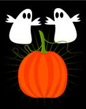 Ghosts and pumpkin - halloween Stock Photos