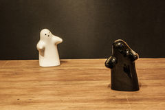 Ghosts salt cellar and pepper pot Royalty Free Stock Photography