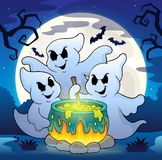 Ghosts stirring potion theme image 2. Eps10 vector illustration Stock Photos