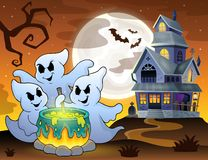 Ghosts stirring potion theme image 3. Eps10 vector illustration Stock Photography