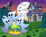 Ghosts stirring potion theme image 4. Eps10 vector illustration Royalty Free Stock Photo