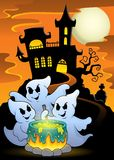 Ghosts stirring potion theme image 5. Eps10 vector illustration Royalty Free Stock Images