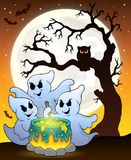 Ghosts stirring potion theme image 6. Eps10 vector illustration Royalty Free Stock Photo