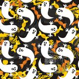 Ghosts and sweets on dark halloween pattern Royalty Free Stock Image
