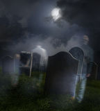 Ghosts wandering in old cemetery royalty free stock images