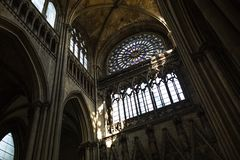 Rouen Saint Cathedrale interior view with sunlights stock photos