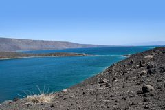 Ghoubet海滩,恶魔海岛Ghoubbet elKharab吉布提东非 免版税库存图片