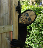 Ghoul at the fence. Ghoul sneaks around the end of the wooden fence Stock Photo