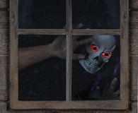 Ghoul Looking Through Rustic Window Royalty Free Stock Photos