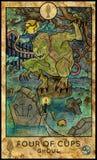 ghoul Vampiro del cementerio Cuatro de tazas stock de ilustración
