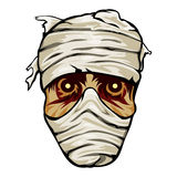 Ghoulish face of a mummy wrapped in bandages Stock Images