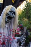 Halloween Ghoul Stalking the Grounds. Ghoulish figure in white shroud on the move. Skull face in full mouthed scream with clawed hand reaching out Royalty Free Stock Photography