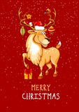 Ghristmas greeting with cartoon reindeer stock illustration