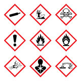 GHS 9 New Hazard Pictogram. Hazard warning sign WHMIS , isolated vector illustration. GHS 9 New Pictogram For Workplace Hazardous Materials Information System stock illustration
