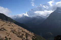 Ghyaru Village & Annapurna II. Royalty Free Stock Photo
