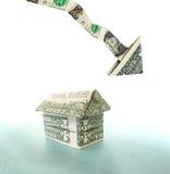 Giù casa del dollaro Immagini Stock Libere da Diritti