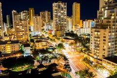 Giù città Waikiki Immagine Stock