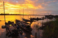 Giù del fiume di Mekong Fotografie Stock