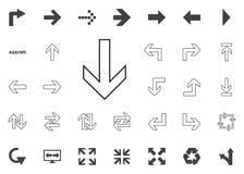 Giù icona della freccia Icone dell'illustrazione della freccia messe immagine stock libera da diritti