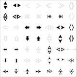 , Giù, sulle frecce seguenti, precedenti, destre e sinistre sono fatti negli stili differenti Immagine Stock Libera da Diritti